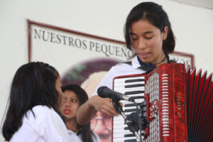Girl playing the accordion