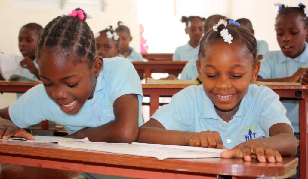 Children enjoying learning at school